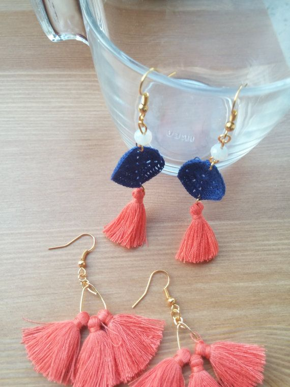handmade earrings with hand knitted in detail and by toocharmy