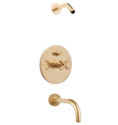 Rejuvenationu0027s West Slope Pressure Balanced Shower Tub Set Aged Brass Is  The Perfect Accent To Your