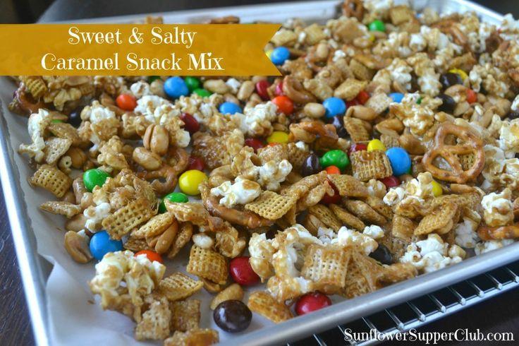 Sunflower Supper Club | Sweet and Salty Caramel Snack Mix | https://sunflowersupperclub.com