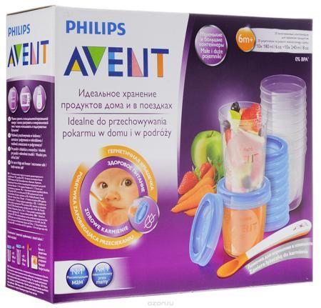 """Philips Avent Набор контейнеров c крышками 20 шт SCF721/20  — 2250р.  Набор контейнеров для детского питания и хранения """"Philips Avent"""" универсальны, просты в использовании и """"растут"""" вместе с вашим ребенком. Контейнеры идеально подходят для хранения продуктов как дома, так и в поездках. Контейнеры оснащены герметичными крышками. Можно использовать в холодильнике и морозильной камере. Набор включает 20 контейнеров, 10 из которых объемом 180 мл, 10 - 240 мл. Также в набор входят ложечка для…"""