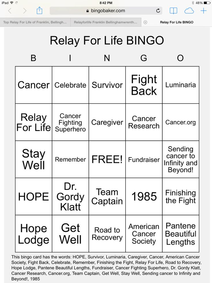 Relay For Life Bingo Made With Relay For Life And