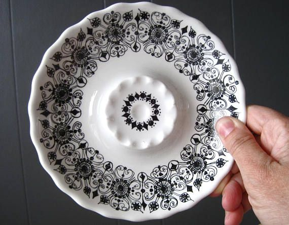Vintage Figgjo Flint Black and White Ashtray Ring Plate Turi
