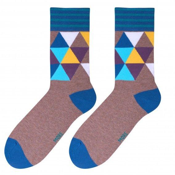 Pánske hnedé ponožky s farebnými vzormi