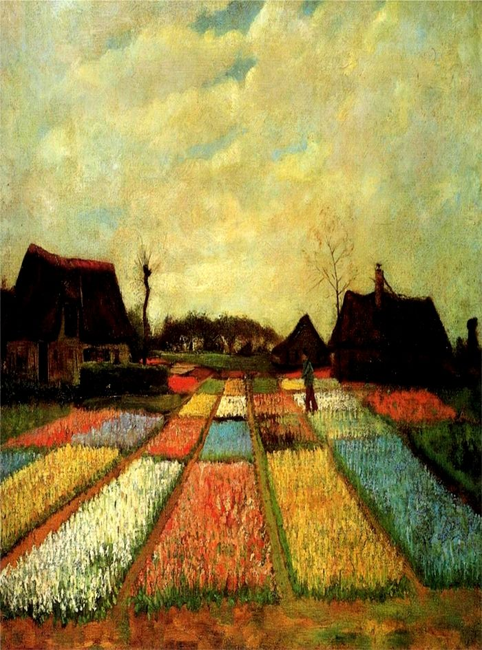 """""""Flower Beds In Holland"""" -- 1883 -- Vincent van Gogh -- Dutch -- Oil on canvas on wood -- National Gallery of Art -- Washington, DC 3"""