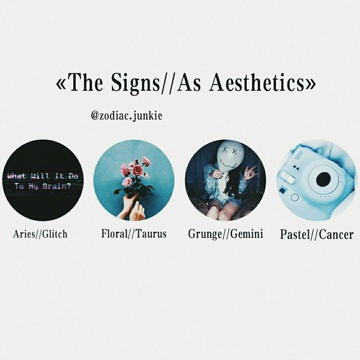 《The Signs//As Aesthetics》Aries//Glitch, Taurus//Floral, Gemini//Grunge, Cancer//Pastel