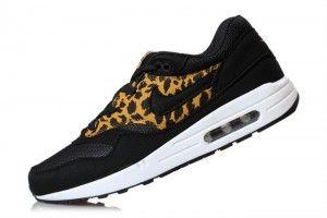 Leopard Herren Nike Air Max 1 Sportschuhe Schwarz/Gold