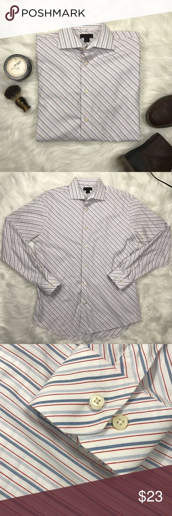 Express stylish men's diagonally stripped shirt. Beautiful and sharp, men's slim fit size Large, button down express shirt. Shows no signs of wear. Slim fit large shirt. Extra buttons included with shirt. Does have dry cleaner tag on shirt. Premium woven cotton. Express Shirts Dress Shirts