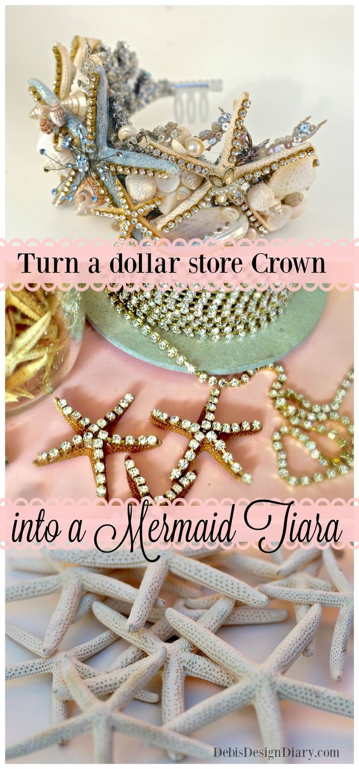DIY Mermaid Tiara from the Dollar Store! It's the perfect craft to do if you can't hit the pool in your real swim-able tail from Fin Fun Mermaid. Mermaid birthday party
