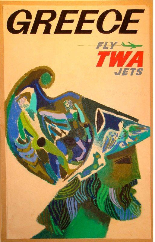 David Klein Travel Poster Greece TWA
