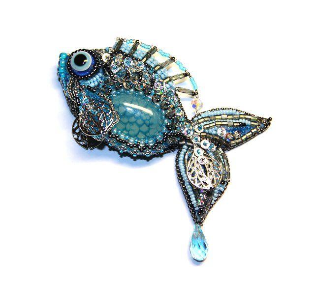 Серебряная рыбка. | biser.info - всё о бисере и бисерном творчестве