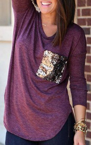Scoop Collar Long Sleeve Sequined T-Shirt