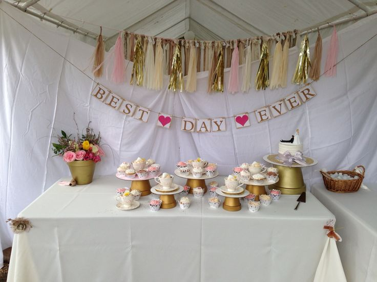 Our wedding cupcakes. We played on the lily theme (bride and groom's last name) by placing lily cupcakes in teacups. Back drop tassel was made by bride's sister. Clay pots were spray painted gold and topped with a cardboard cake board. Best day ever sign purchased from etsy. :)