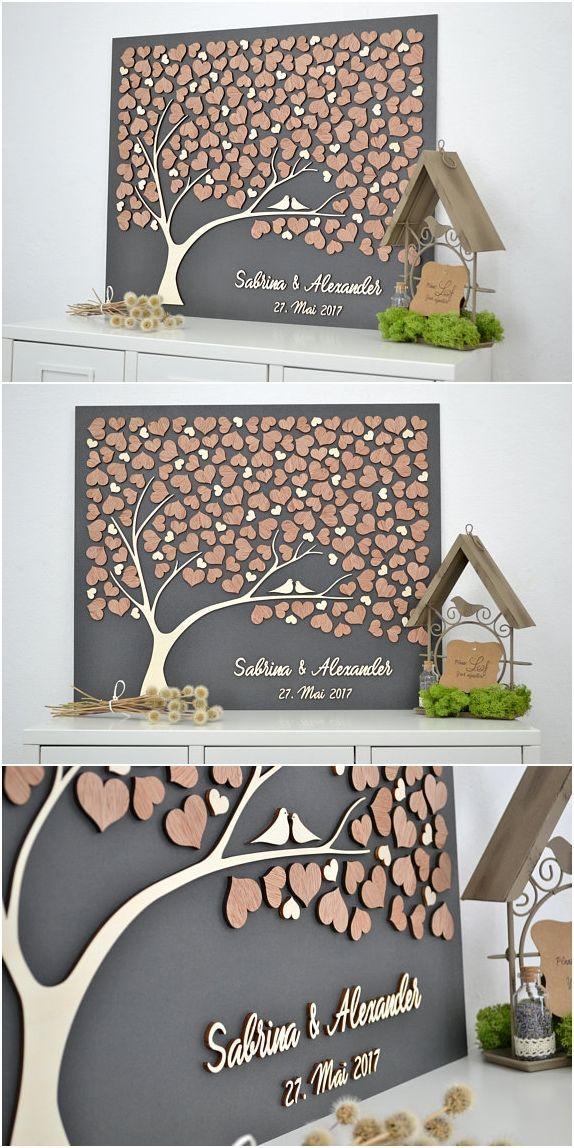 3D LIEBESBAUM Hochzeit Gästebuch alternative Baum Holz Custom einzigartige Gästebuch h