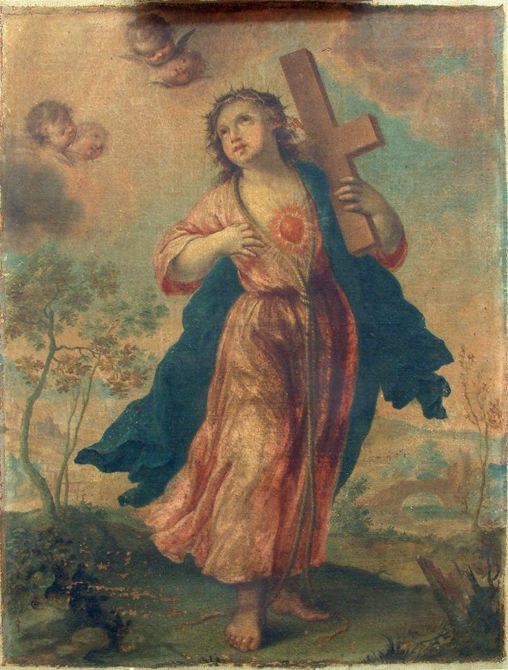 Pintura sobre lienzo, niño Jesús con la cruz a cuestas ...