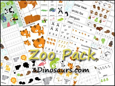 3 Dinosaurs - Zoo Pack - Free printable for ages 2-7 over 70 pages of 3 Part Cards, Beginning Sounds, Addition Sheets, Matching Cards, Read Write the Room, Which One Is Different, What Comes Next, Cutting Practice, Pre Writing Practice, Pattern Cards, 10 Piece Puzzles, 4 Piece Puzzles, Clip and Count Cards, Size Sequencing, Shadow Matching, Small books, Color the Pattern, Sorting and more.