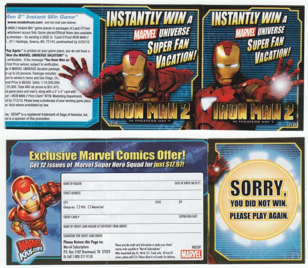 """Iron Man 2: Pair of two Land O' Frost Game Pieces, 2010, VF/NM and NM, instant win game pieces promoting both the Iron Man 2 film (""""in theaters May 7"""") and Marvel Comics, game piece is 2 x 2.5 inches that accordion folds out to roughly 9.75 inches long, Iron Man images on both sides, both pieces are of the """"Sorry - Play Again"""" variety. Both for $3"""