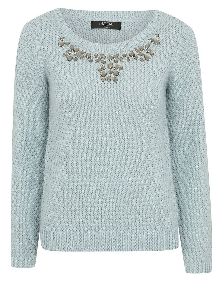 Moda Embellished Neck Jumper | Women | George at ASDA