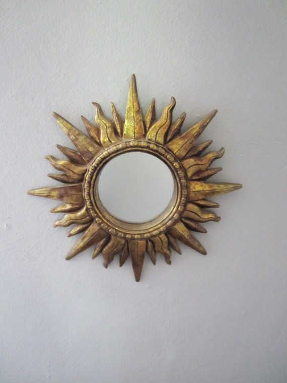 Vintage Gold Sunburst Mirror Wall Hanging Mid Century Modern / Hollywood  Regency