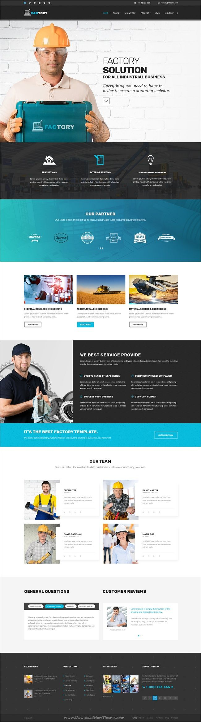Factory is a modern design #PSD template for #industrial, mechanical, engineering, construction #company websites download now➩ https://themeforest.net/item/factory-industrial-business-psd-template/19035871?ref=Datasata