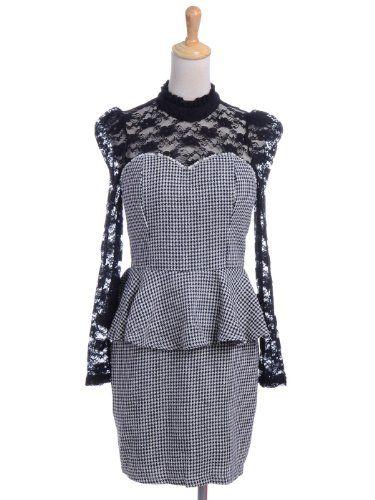 Anna-Kaci S/M Fit Black Puff Shoulders Lace Sweetheart Neckline Peplum Dress