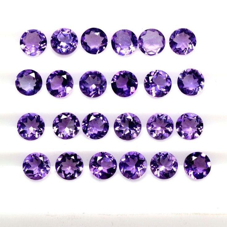 9.31 Cts Natural Flawless Rich Purple Blue Amethyst Round Cut Lot Brazil 5 mm $