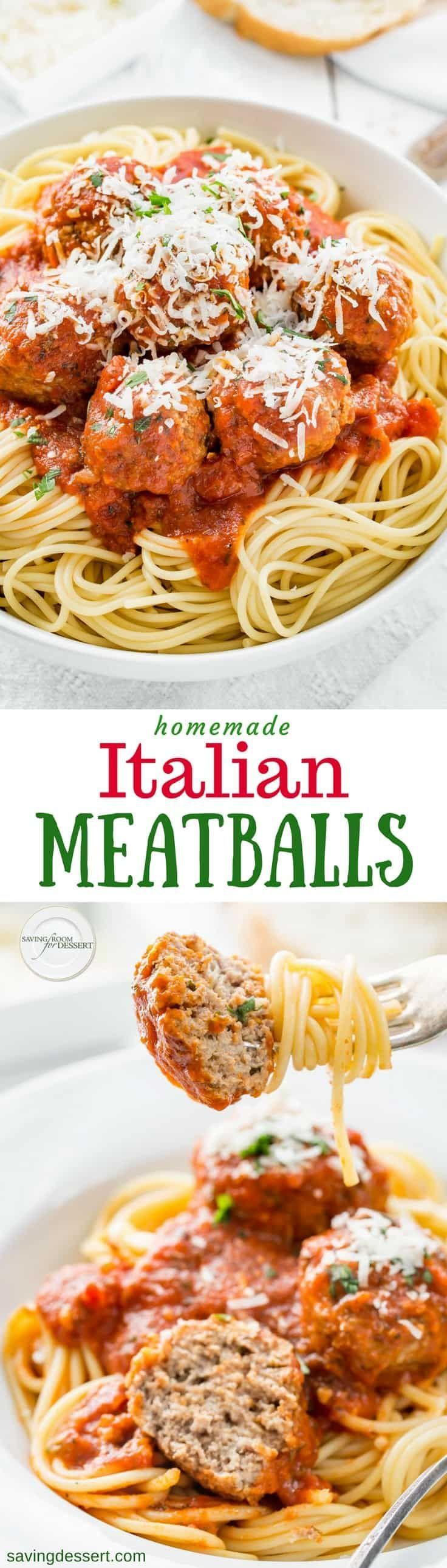 Everyone needs a great Italian Meatball Recipe! Our tested recipe is easy to make and the results are consistently terrific. These Italian styled meatballs are super juicy, tender and delicious, with easy make-ahead and freezable directions too! www.savingdessert.com #savingroomfordessert #meatballs #italianmeatballs #italianmeatballrecipe #italian #spaghettimeatballs #dinner #freezable