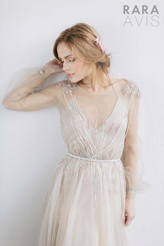 Wedding dress Fani, powder wedding dress, nude wedding dress, ivory wedding dress, Long sleeve weddi