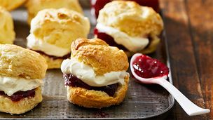Rich scones with jam and cream