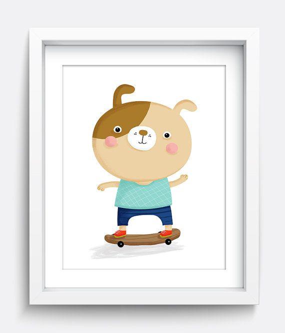 Perro arte de pared de impresión, para imprimir, descarga inmediata arte, niño pequeño vivero arte, Baby Boy vivero arte, niño dormitorio Ideas, arte azul, perro arte