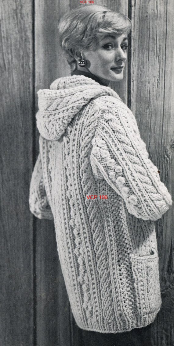 Aran Knitting Pattern With Hood : Ladies aran parka coat with hood vintage knitting by ...