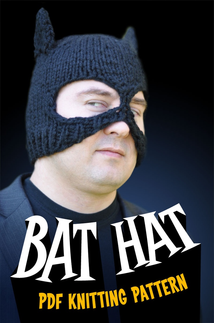 Bat Hat PDF knitting pattern $1.99  Great for Halloween!
