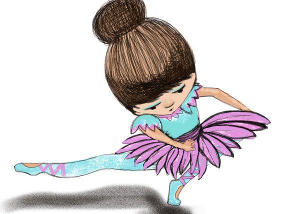 A5 Print - azul de la bailarina estira sus piernas, chica guardería de la pared, arte caprichoso, dibujo digital, colecciones,