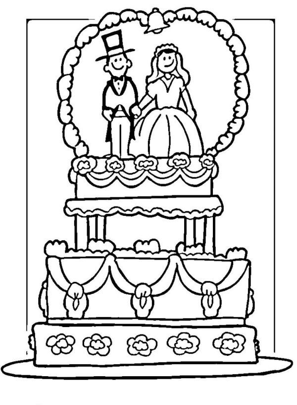 Wedding Cake Coloring Page Wedding With Kids Wedding Coloring Pages Kids Table Wedding
