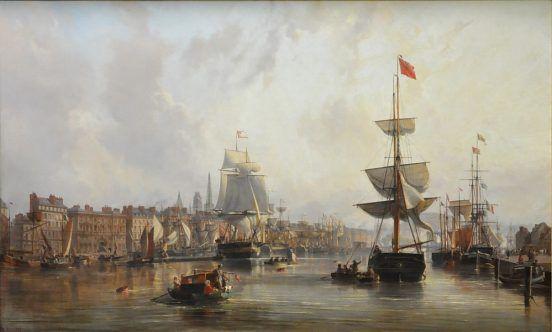 «Le Port de Rouen, vue générale», 1855.