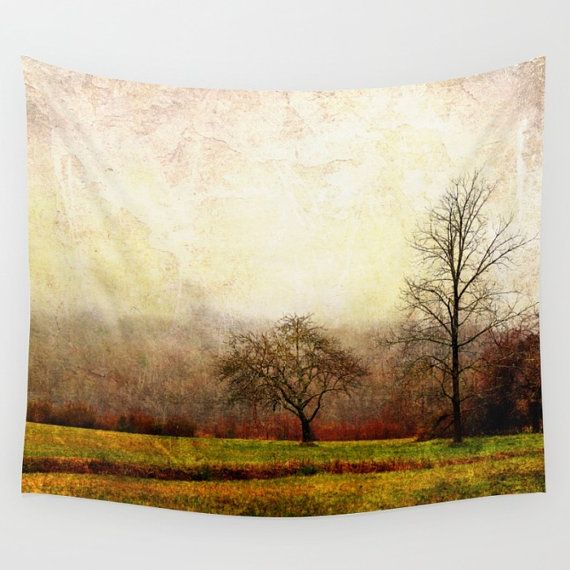 Trees Tapestry, Landscape Tapestry, Nature Tapestry, Trees Wall Hanging, Rustic Tapestry, Nature Wall Art, Grunge Tapestry, Brown, Green, by mayaredphotography. Explore more products on http://mayaredphotography.etsy.com