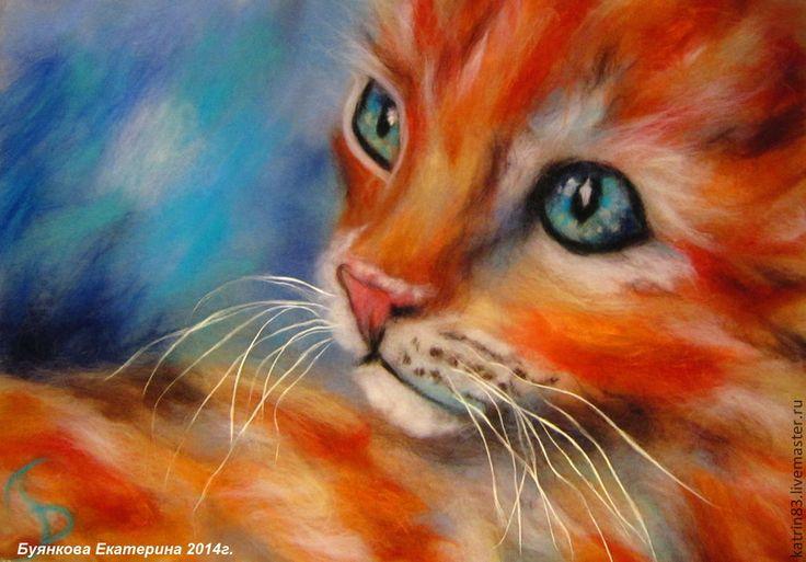 Рыжик - кот,рыжик,картины из шерсти,шерстяная акварель,,шерсть 100%