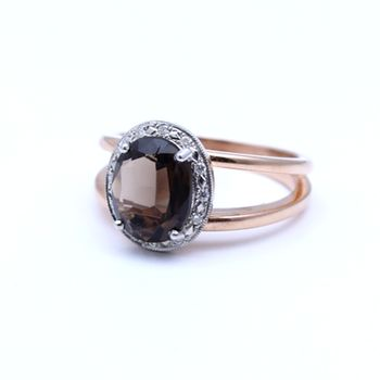 Smokey Quartz set in 9ct Rose Gold. Diamonds 0.08ct G-H SI. View more coloured stone rings online or in store. www.dor.co.nz  98 Richmond Rd, Grey Lynn. #smokeyquartz #9ct #shoponline #rosegold #diamonds #gemstones #jewellery #ring
