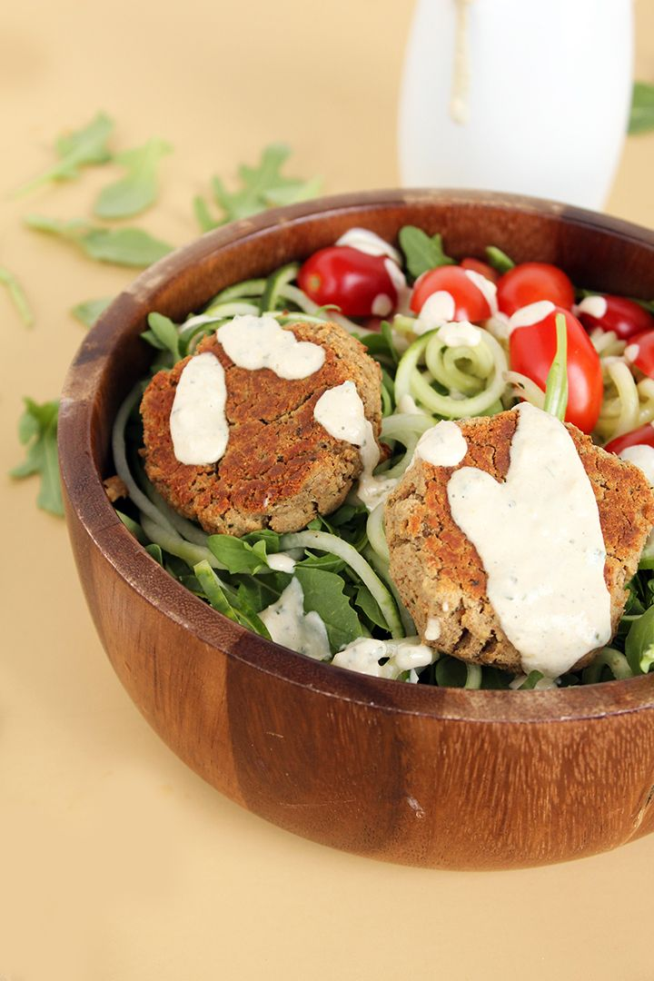 Baked Falafel and Cucumber Noodle Salad with Mint-Tahini Dressing ...