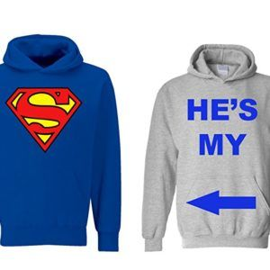 He's My Superman/ She's My World Matching Hoodies for Couples