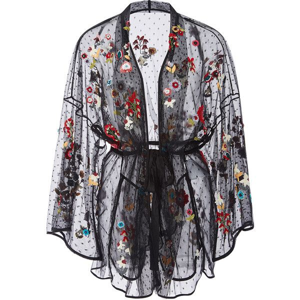 Red Valentino Fancy Flower Embroidered Point D'Espirit Kimono ($2,695) ❤ liked on Polyvore featuring intimates, robes, floral kimono robe, red valentino, black floral kimono, floral print robe and kimono robe