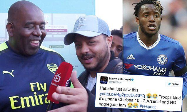 Michy Batshuayi jokes to Arsenal Fan TV's Troopz