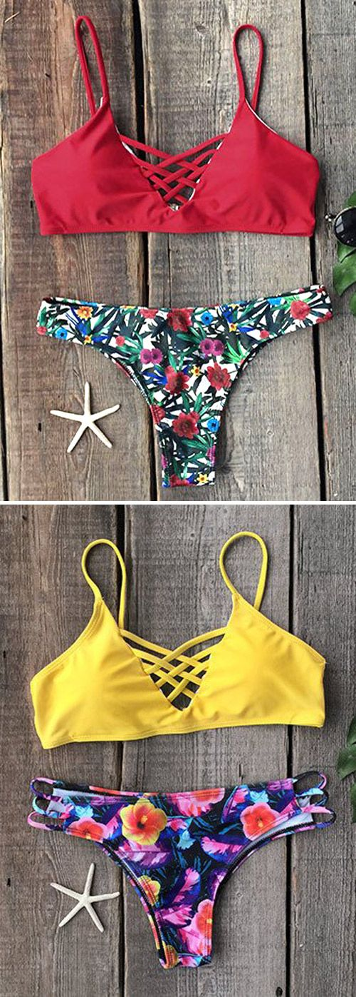 It's your one stop bikini,$17.99, for killing it every time. Polished and refined with an unexpected pop of color. Glamorous Golden Flower Floral Bikini Set can give you a new start. You Just need such a Swimsuit at Cupshe.com !