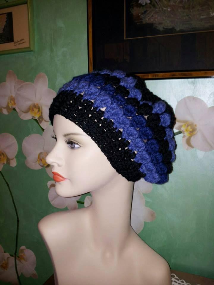 Basco uncinetto in lana merino (bluette/nero)