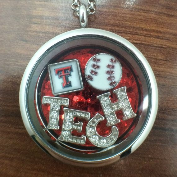 Pop Culture Lockets from Lubbock, TX. Like an origami Owl, but not. Texas Tech necklace locket. Jewelry. Red raiders. Baseball
