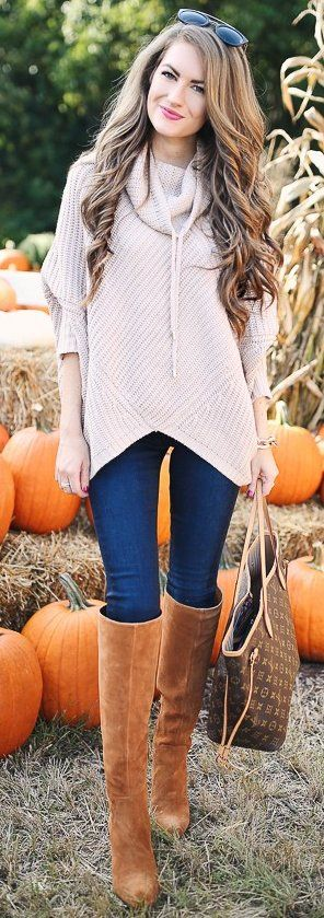 #fall #trending #outfits | Blush Sweater   Jeans   Camel Boots