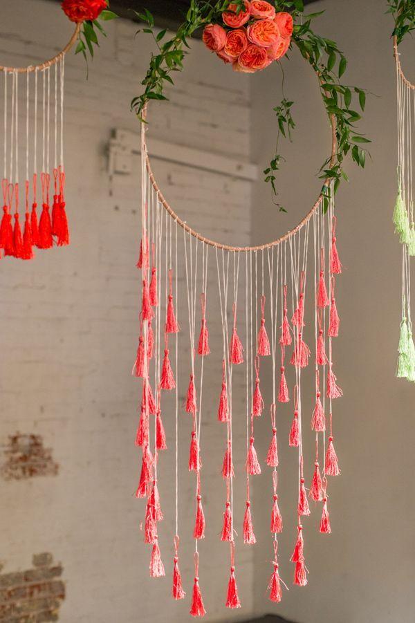 coral bohemian wedding decor ideas