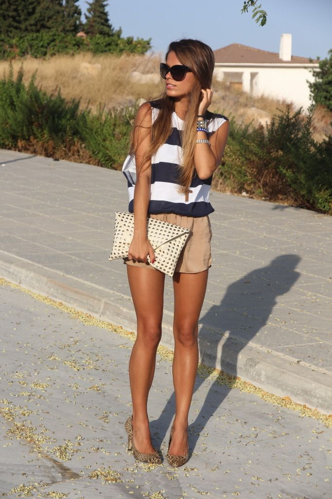 summer.: Summer Outfit, Summer Looks, Navy Stripes, Navystripes, Legs, Currently, T Shirts, Summer Shorts, High Waist Shorts