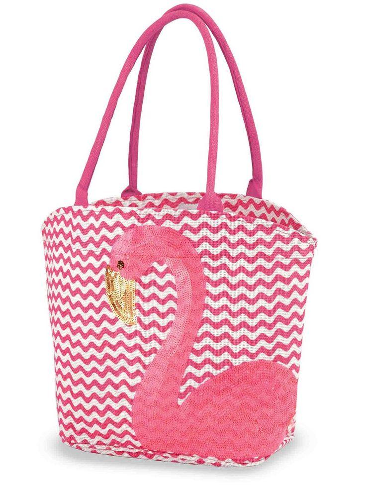 Pink Flamingo Tote Bag Chevron Print Sequined 17 Inch Shopping Beach Pool - Mary B Decorative Art