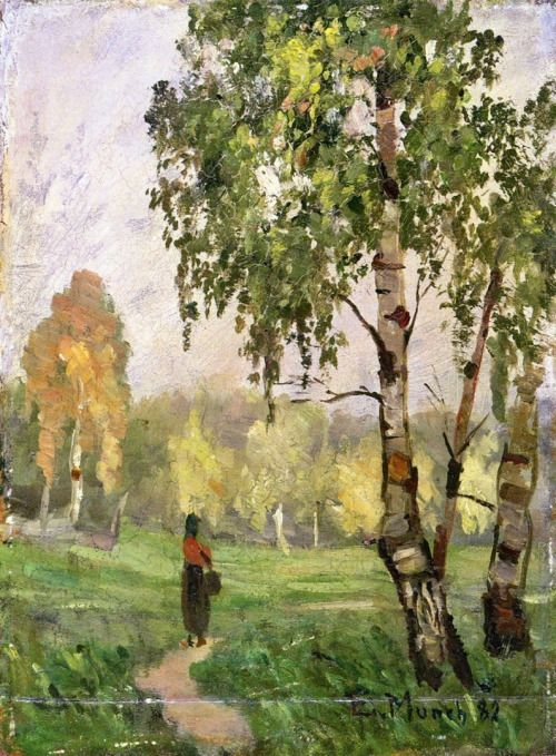 "igormaglica: "" Edvard Munch (1863-1944), Birch Trees with Woman Walking, 1882. oil on panel, 29.5 x 22 cm """