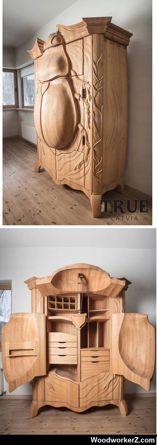 Possibly the most beautiful piece of furniture I've ever seen... This one-of-a-kind insectoid armoire is called the BUG and was designed by Latvian designer Janis Straupe of True Latvia. http://www.woodworkerz.com/the-bug/